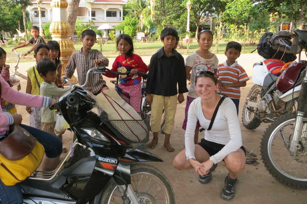 Micha and kids in Cambodia
