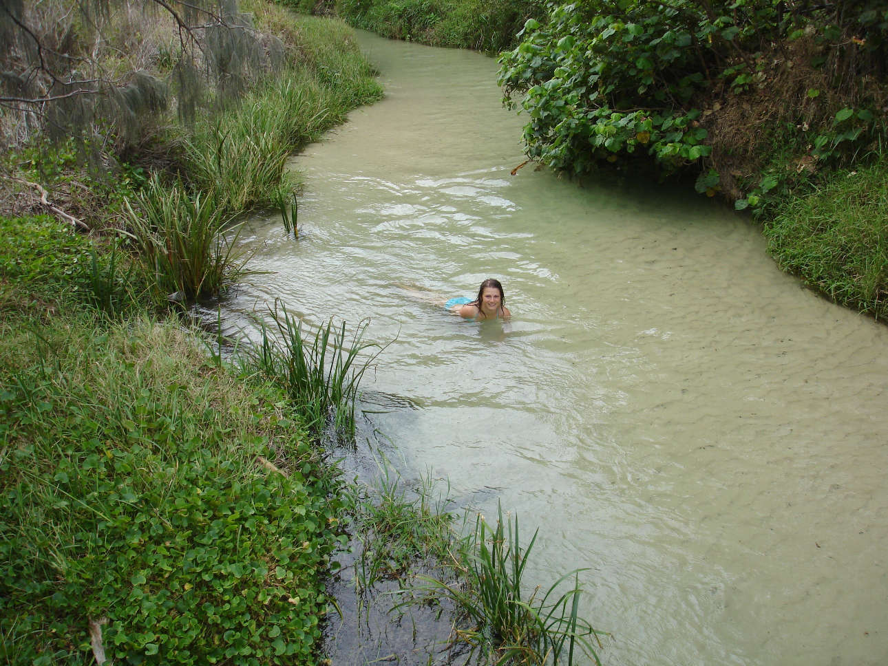 Micha floating down Eli Creek