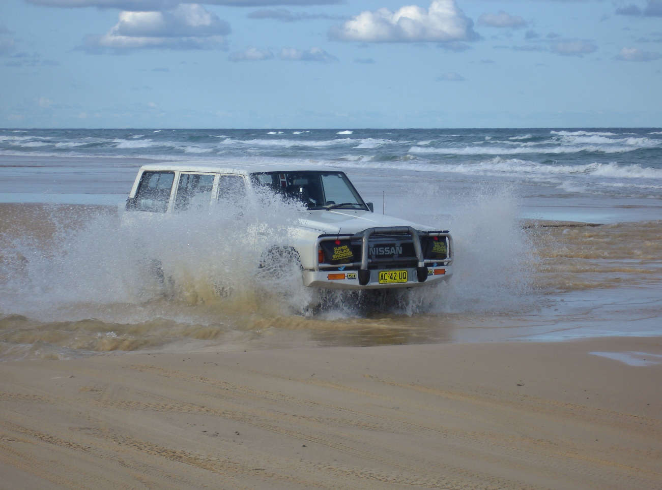 Crossing a little creek on Fraser Island's 75 mile Beach