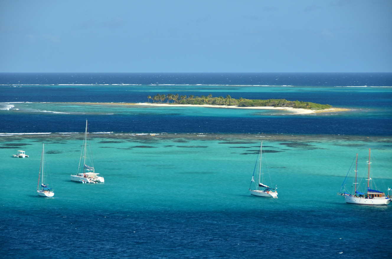 Sailboats in the Tobago Cays