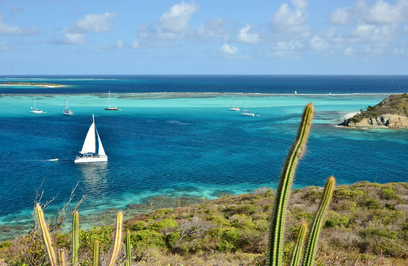The uninhabited island of Petit Rameau offers great views of the Tobago Cays marine park from above
