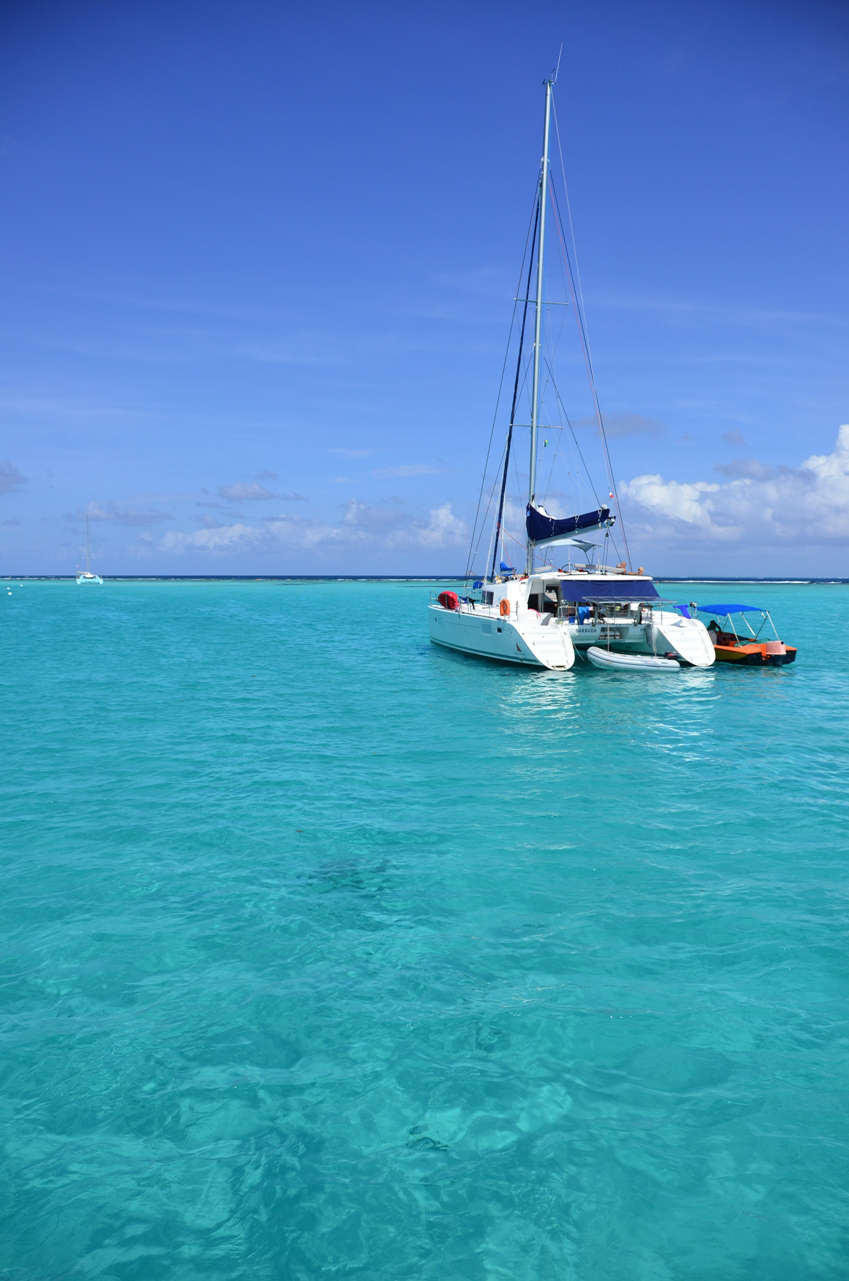 Cerulean, crystal clear water invites visitors to jump in and cool down in the Tobago Cays