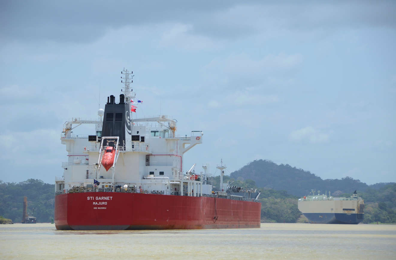 Huge freighters cross Lake Gatun, the dammed up lake inbetween the locks on the Pacific and Caribbean side of Panama