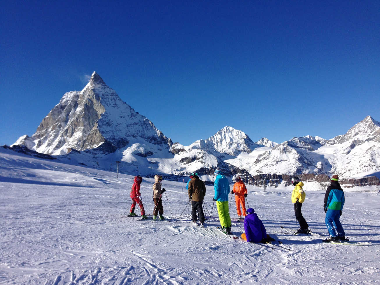 When skiing in Zermatt, skiers can visit both the Swiss and the Italien ski resorts, which are connected