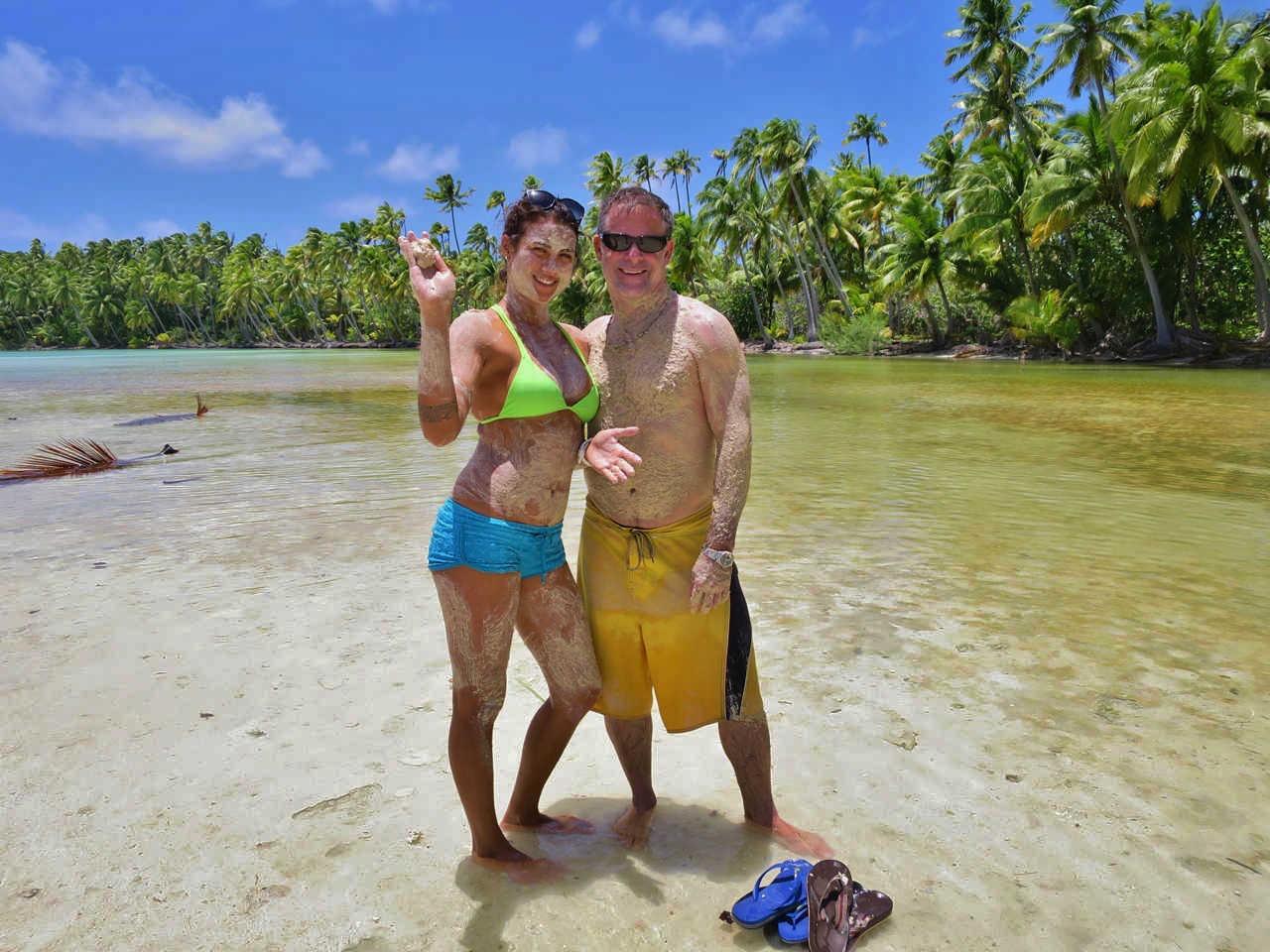 Tumi, Marlon Brando's grand daughter and Eric taking a mud bath at Motu Oroatera