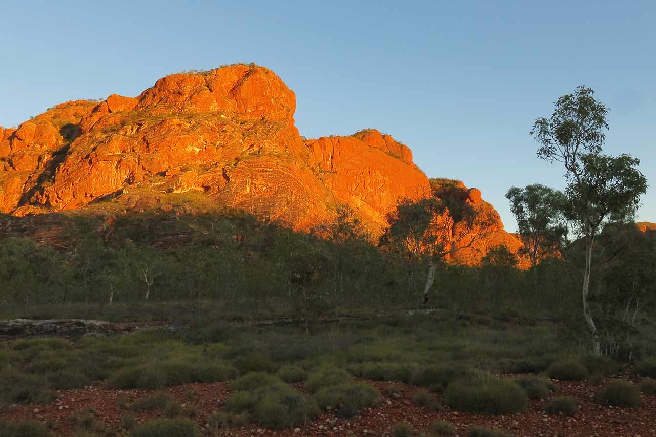 "Sunset puts the rocks of the Bungle Bungle Range ""on fire"""