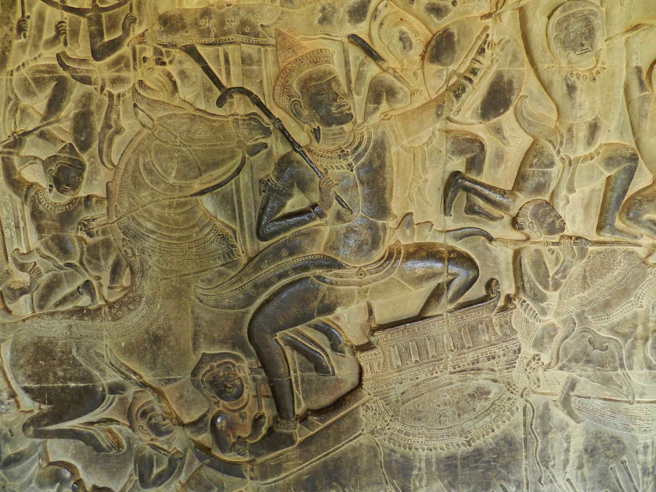 Bas-relief of war scenes at Angkor Wat