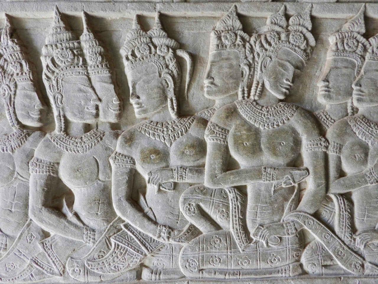Bas-relief of apsara dancers at Angkor Wat