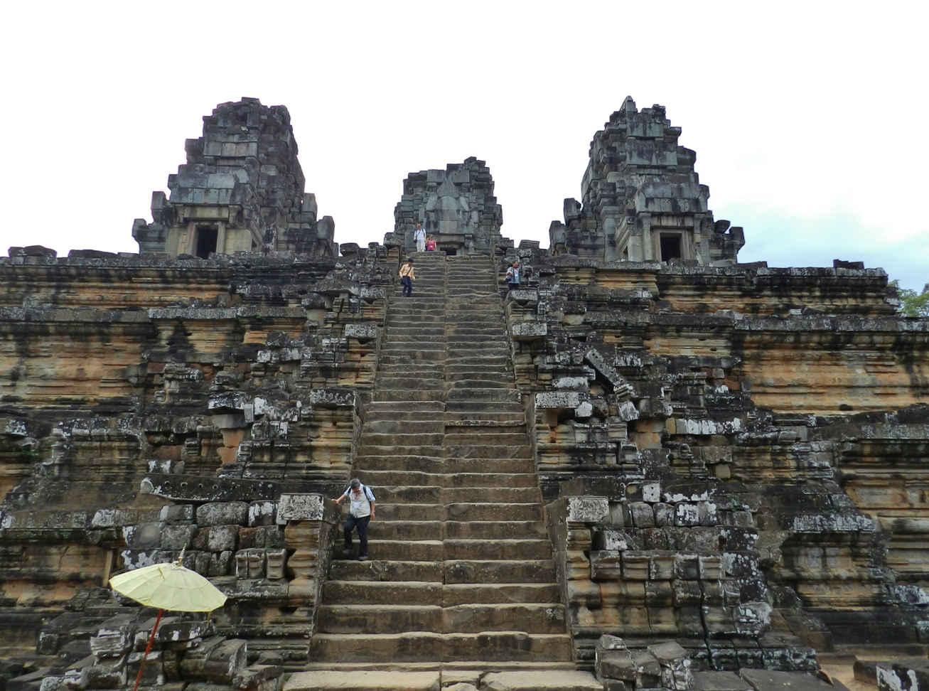 Steep, narrow stairs at Prasat Ta Keo