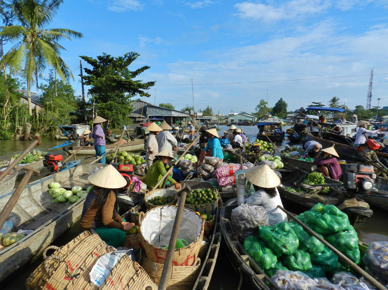 Visit Phong Dien Market in a tiny boat and ind yourself surrounded by countless women trying to sell you ten things at a time