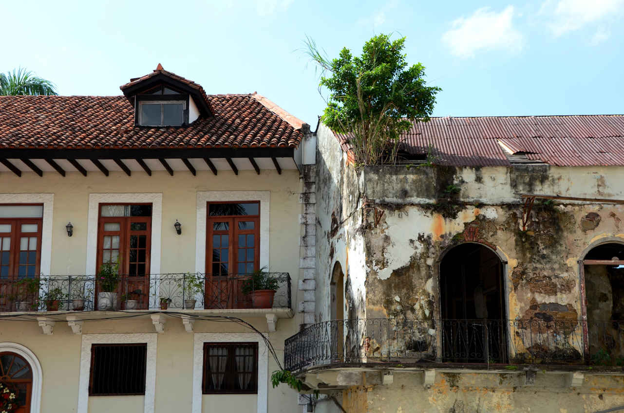 A recently restored building next to one that needs some attention in Casco Viejo