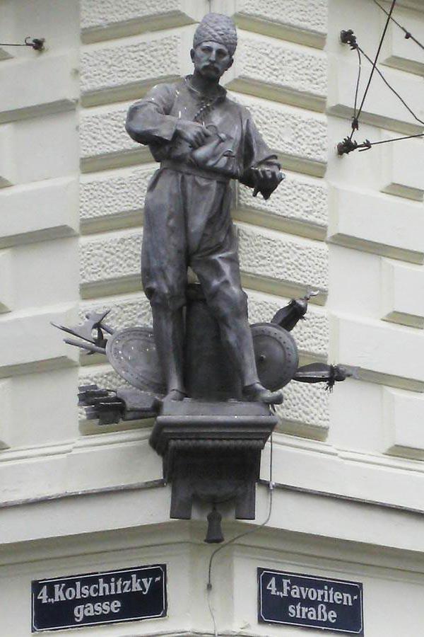 Vienna coffee house Kolschitzky statue