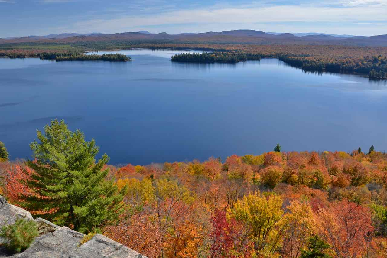 Aerial view of one the the ADKs remote lakes