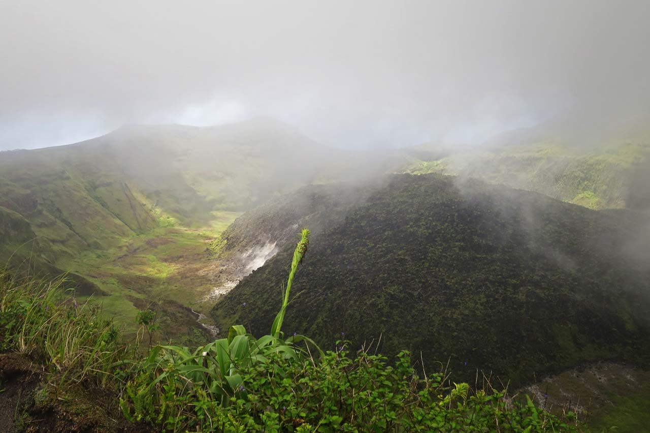 View towards the leeward side of the island across the crater of La Soufrière