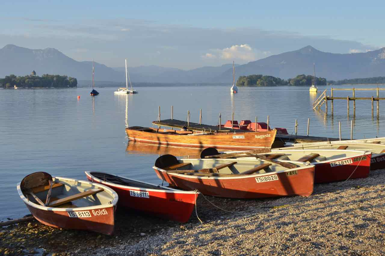 Rowing boats on Lake Chiemsee