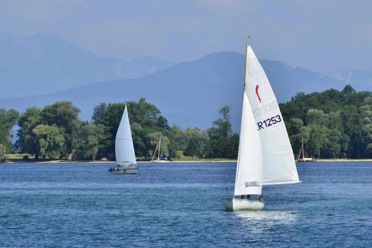 On sunny and windy days, sailboats take over Lake Chiemsee