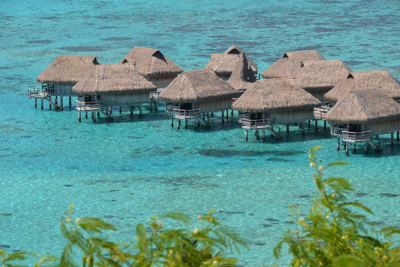 The northern coast of Moorea is home to big high-end resorts and their overwater bungalows