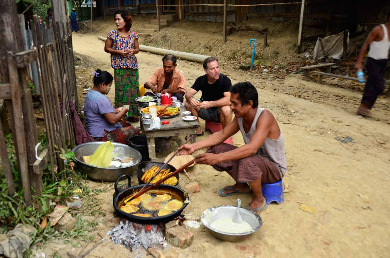 Street food in Mrauk U, Myanmar