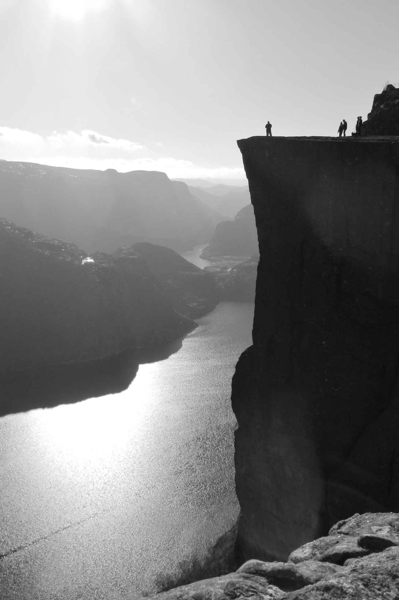 Preikestolen aka Pulpit Rock is a rock tower overlooking Lysefjord that you should only attempted to climb if you are not scared of heights
