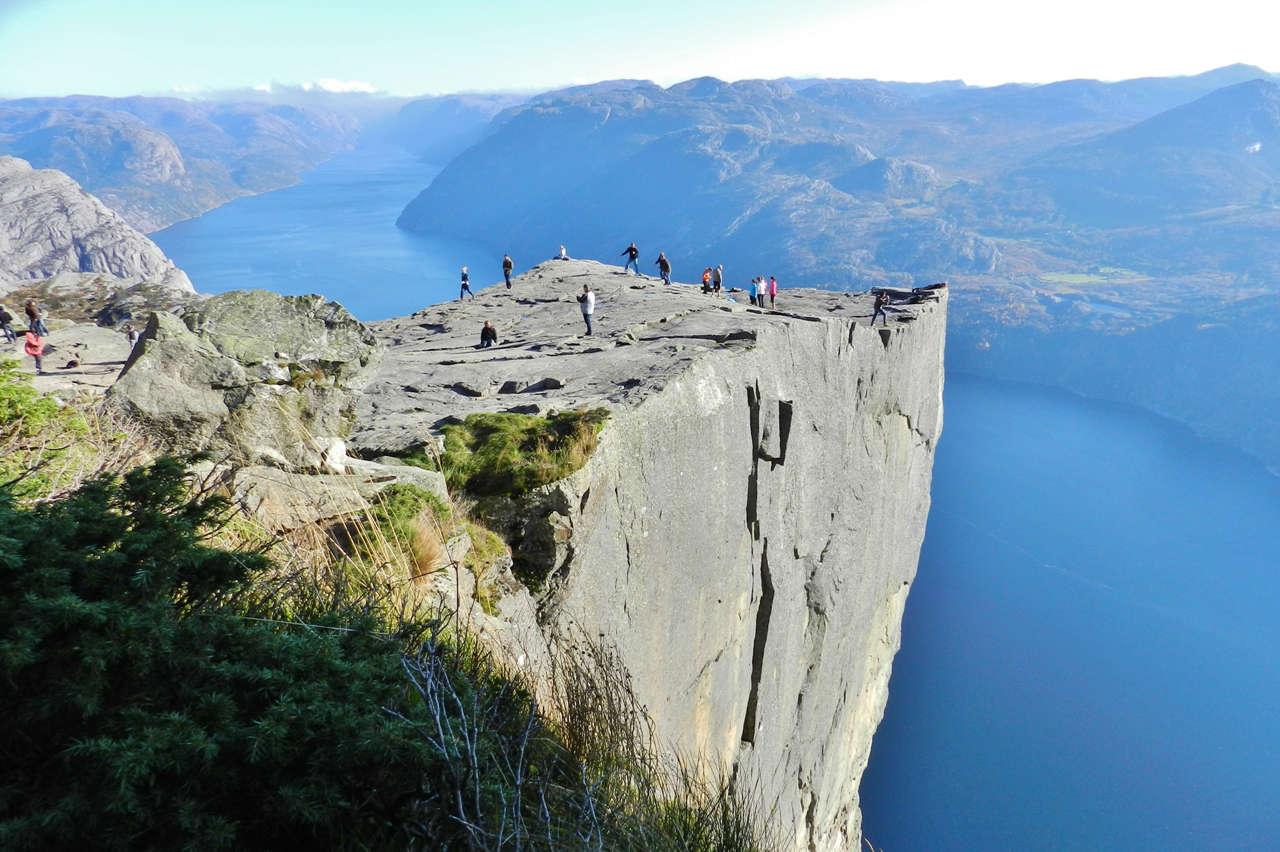 Preikestolen is a stunning rock with a huge vertical drop overlooking Lysefjord
