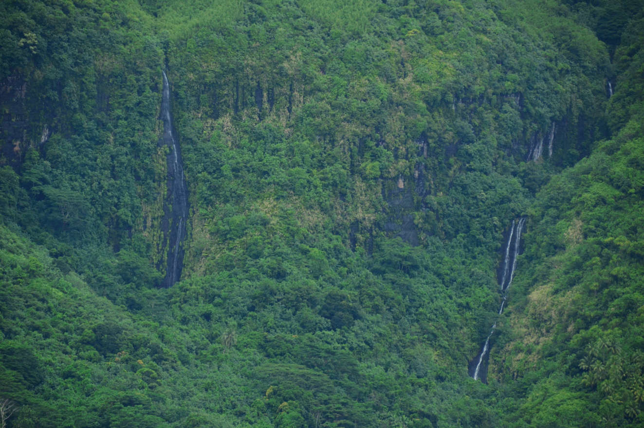 After rain, the steep mountains of Raiatea are covered in countless, temporary waterfalls