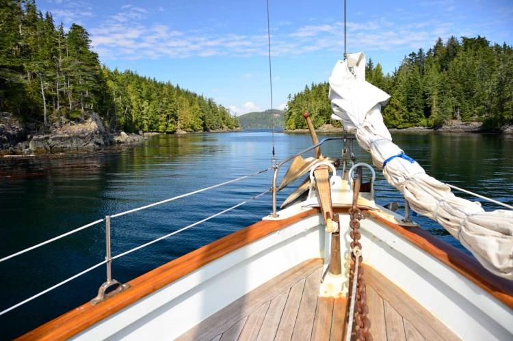 sailing BC aboard Passing Cloud bow