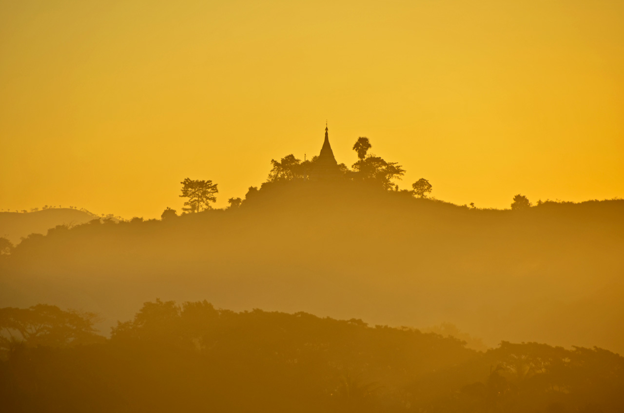 temple at dawn in Mrauk U, Myanmar