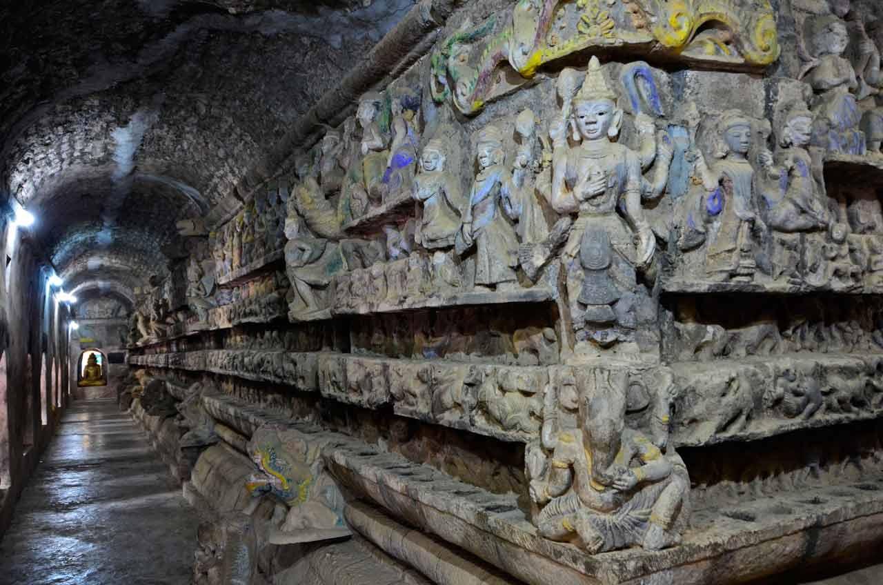 temple inside in Mrauk U, Myanmar