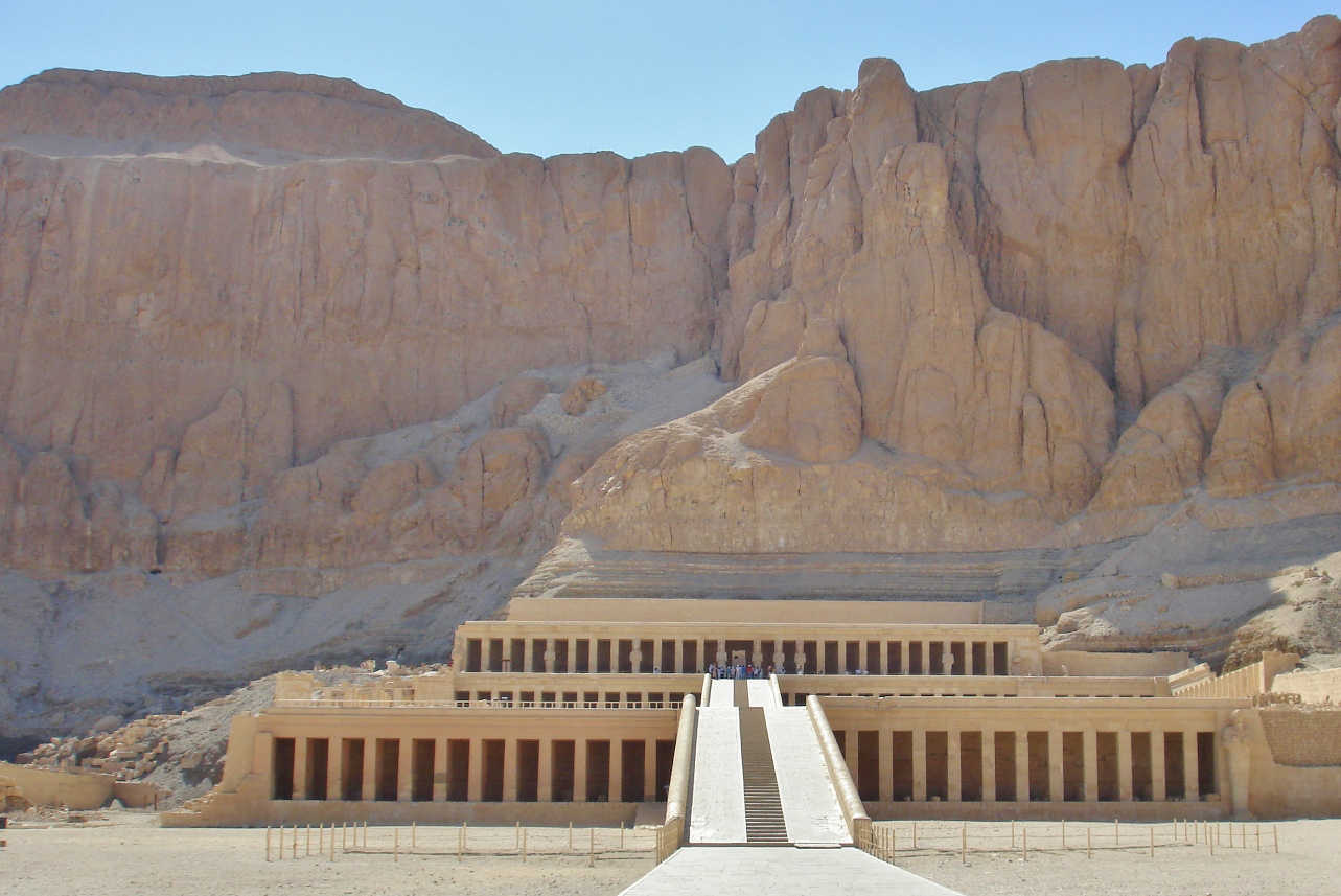 The Mortuary Temple of Hatshepsut has three levels, and was covered in gardens back then