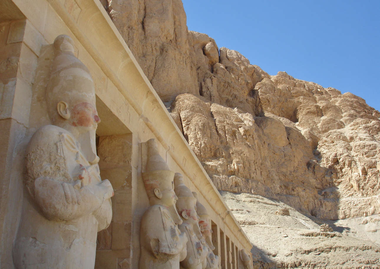 The female pharaoh Hatshepsut had a temple built for herself at the foot of the Theban Hills