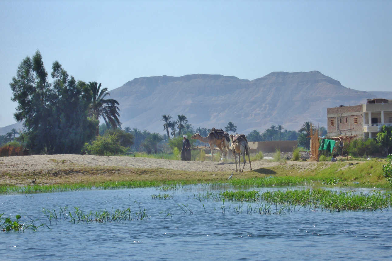 The Nile River winds its way through Luxor
