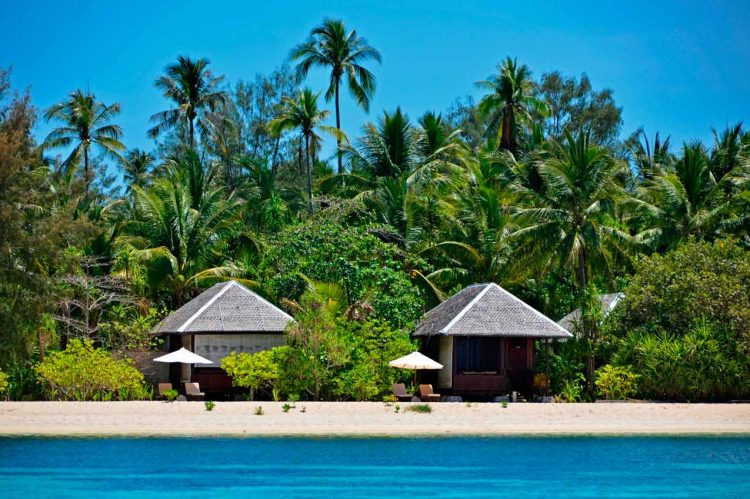 Beach bungalows at Wakatobi Dive Resort