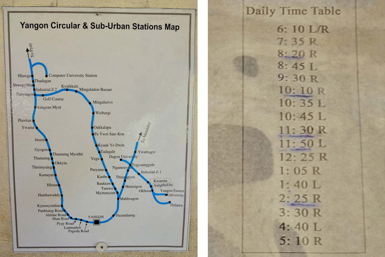 Yangon Circle Line map and timetable